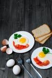 Sund frukost: stekt ägg på trätabellen och tre skivor av bröd med gräsplaner, ägg, tomater och peppar Royaltyfri Foto
