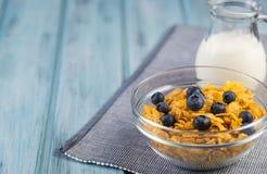 Sund frukostsädesslag med blåbär och mjölkar Arkivbilder