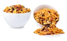 Sund frukostuppsättning med sädes- mandelrussinvalnötter Royaltyfria Foton