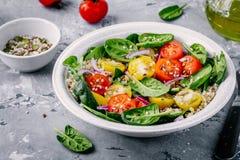 Sund grön bunkesallad med spenat, quinoa, gula och röda tomater, lökar och frö Royaltyfri Bild