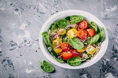 Sund grön bunkesallad med spenat, quinoa, gula och röda tomater, lökar och frö Arkivfoto