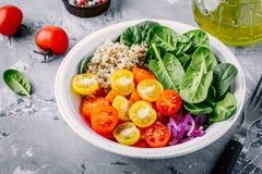 Sund grön bunkesallad med spenat, quinoa, gula och röda tomater, lökar och frö Arkivfoton