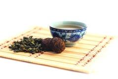 Sund grön tea med koppen Arkivfoto