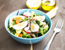 Sund grönsaksallad med kokta ägg och Chili Flakes arkivbild