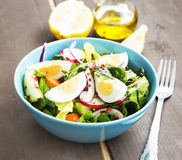 Sund grönsaksallad med kokta ägg och Chili Flakes arkivfoton