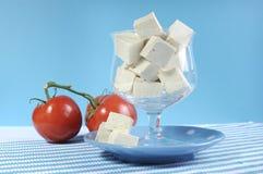Sund hälsokost bantar matgruppen, fria produkter för mejeri, med sojabönatofuen arkivfoto