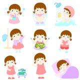 Sund hygien för flickatecknad film stock illustrationer