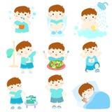Sund hygien för pojketecknad film stock illustrationer