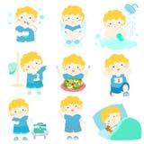 Sund hygien för pojketecknad film royaltyfri illustrationer