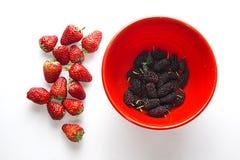 Sund jordgubbe med björnbäret i bunken Royaltyfria Bilder