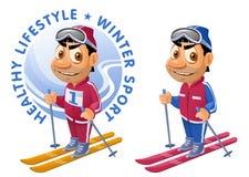 Sund lifstyle skida vintern för snowsportspår Illustration med den roliga tecknade filmen Arkivbild