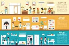 Sund livmedicinsk forskningdiagnostik vektor illustrationer