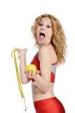 Sund livsstil - äpple för konditionkvinnahand Royaltyfria Foton