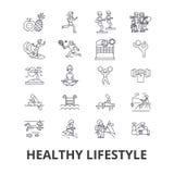 Sund livsstil, aktiv uppehälle, naturlig mat, sjukvård, wellness, övningslinje symboler Redigerbara slaglängder Plan design stock illustrationer