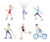 Sund livsstil i gamling Det äldre folket, män och kvinnor går in för sportar, fysisk aktivitet i den nya luften vektor stock illustrationer