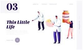 Sund livsstil, mall för sida för hälsovårdWebsitelandning Doktor Holding Stethoscope och sjuksköterska Watching på kardiogram vektor illustrationer