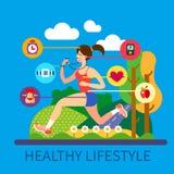 Sund livsstil och sport royaltyfri illustrationer