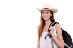 Sund livsstilkvinna som ler, när hon går till att fotvandra ferie Arkivfoto
