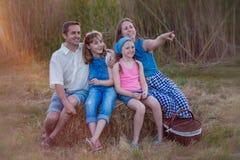 Sund lycklig familj utomhus i sommarpicknick Arkivfoton