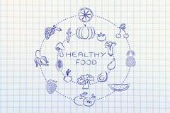 Sund mat: frukt och grönsaker Arkivbild