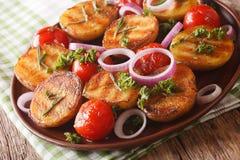 Sund mat: grillade potatisar och tomater med örter och löken Arkivfoton