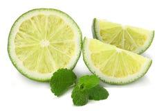 sund mat Limefrukt med mintkaramellsidor som isoleras på vit bakgrund royaltyfri bild