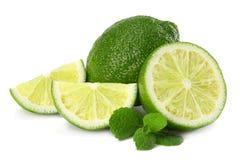 sund mat Limefrukt med mintkaramellsidor som isoleras på vit bakgrund arkivfoton