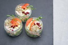 Sund mat, meny med microgreens Sallad med microen gör grön sortimentet Organisk grönsaker, ost och höna Sunt royaltyfria bilder