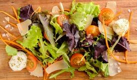 sund mat Nya salladtomat, ost och gräsplaner, bästa sikt Royaltyfri Fotografi