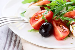 Sund mat - sallad med mozzarellaen Arkivbild