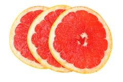 sund mat Skivad grapefrukt som isoleras på vit bakgrund Top beskådar fotografering för bildbyråer