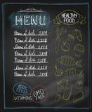 Sund matmeny för svart tavla stock illustrationer