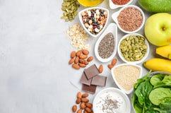 Sund matnäring som bantar begrepp Bästa sikt, kopieringsutrymme, lekmanna- lägenhet Arkivbilder