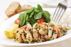 Sund maträtt av stekt kyckling och räkor med källkrasse Royaltyfri Fotografi