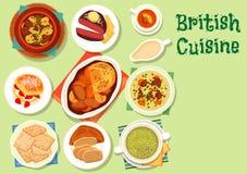 Sund matsymbol för brittisk kokkonst för lunchdesign stock illustrationer