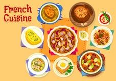 Sund matsymbol för fransk kokkonst för lunchdesign vektor illustrationer