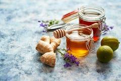 Sund mattabell med olika sorter av honung, den nya ingefäran och limefrukt arkivfoto