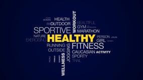 Sund moln för ord för wellness för jogger för löpare för övning för livsstil för genomkörare för kondition sportive aktiv utbildn vektor illustrationer