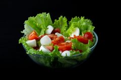 Sund mozzarellasallad, isberggrönsallat och nya saftiga körsbärsröda tomater, sidosikt, salladsammansättning arkivbild