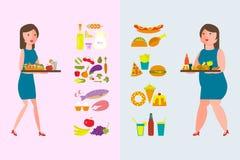 Sund och fettig mat stock illustrationer