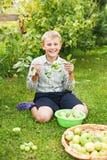 Sund pojke som äter ett äpple royaltyfri foto