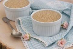 Sund pudding som göras från tapiokapärlorna, och kokosnöten mjölkar arkivbild