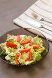 sund sallad, grönsak, tomater, gurkor, isberg, bestick, kökshandduk, grå bakgrund kopiera avstånd vegetarian fotografering för bildbyråer