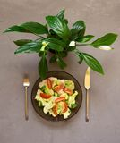 sund sallad, ny grönsak, tomater, gurkor, isberg, bestick, Spathiphyllum, grå bakgrund fotografering för bildbyråer
