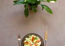 sund sallad, ny grönsak, tomater, gurkor, isberg, bestick, Spathiphyllum, grå bakgrund arkivfoto