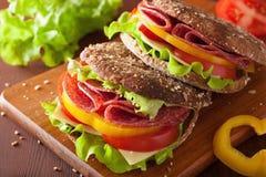 Sund smörgås med salamitomatpeppar och grönsallat Arkivbild