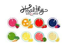 Sund smoothiesamlingsjämvikt bantar menyn, banermallmat och att dricka på saftigt begrepp för produkt, för grönsak och för frukt vektor illustrationer