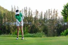Sund sport Asiatisk sportig kvinnafokus f?r golfare som s?tter golfboll p? den gr?na golfen p? semesterdag royaltyfri fotografi