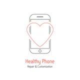 Sund telefon som brännmärker med röd linjehjärta royaltyfri illustrationer
