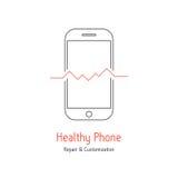 Sund telefonlogotyp med översiktssmartphonen vektor illustrationer